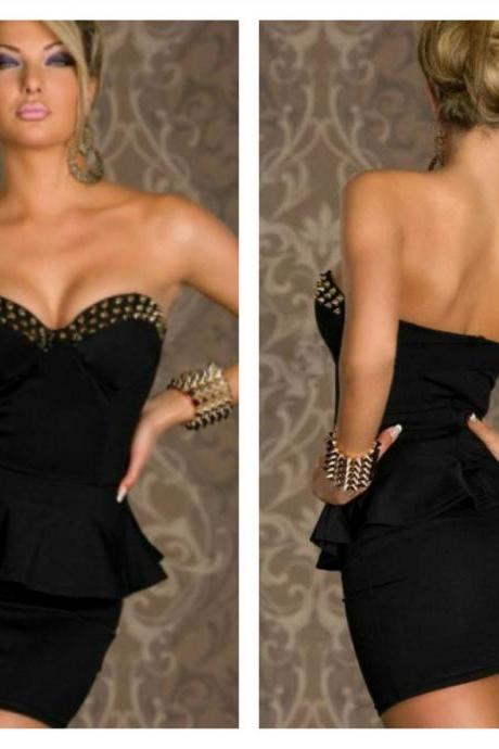Black Sexy Rivets Black Sexy Peplum Dress