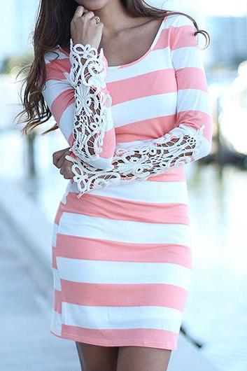Pink and White Stripes Lace Patchwork Mini Dress (2 colors)