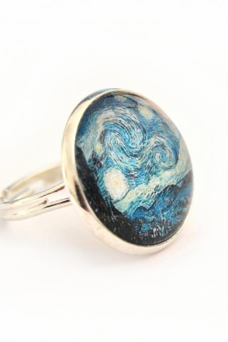 Van Gogh's Starry Night glass ring, round and adjustable