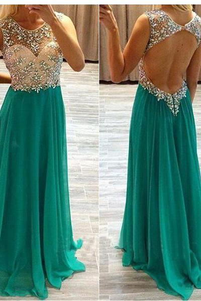 long prom dress, green prom dress, party prom dress, backless prom dress, cheap prom dress, prom dress 2015, long evening dress, 142310