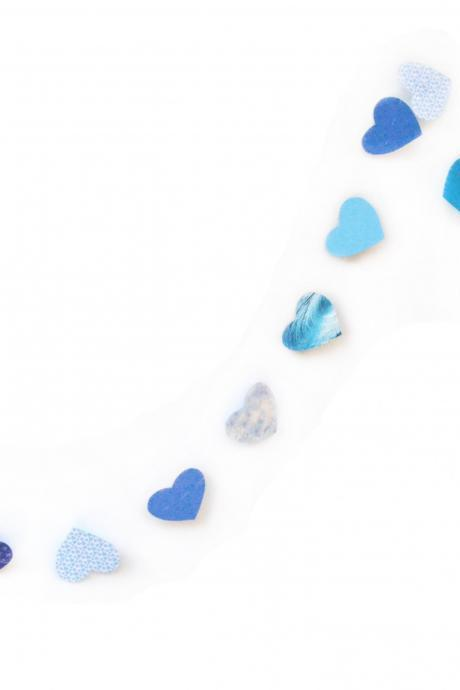 Blue garland in paper hearts