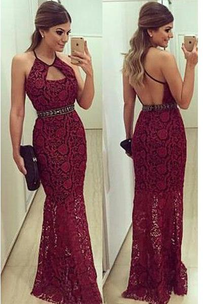 long prom dress, burgundy prom dress, lace prom dress, backless prom dress, long evening dress, prom dress 2015, 143251