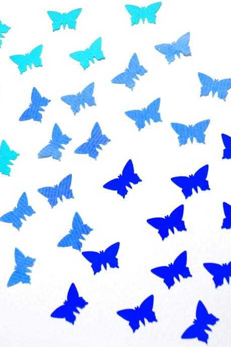 100 handpunched butterflies in the shades of blue