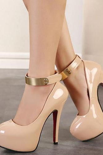 Elegant Metallic Ankle Strap Nude High Heel Shoes