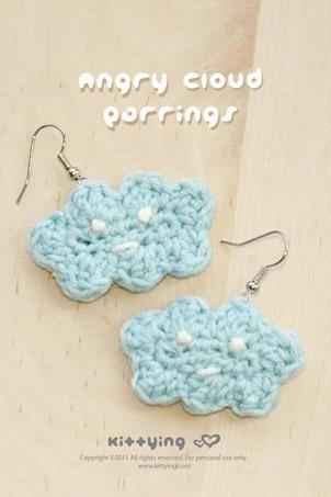Crochet Angry Cloud Earrings PATTERN, SYMBOL DIAGRAM (pdf) by kittying