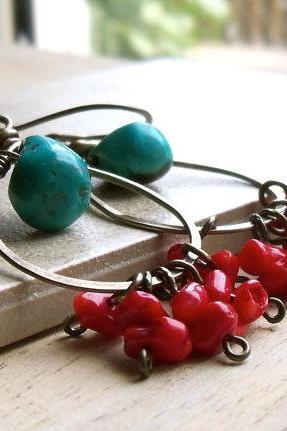 Antiqued brass Hoops with Turquoise and Bamboo Coral