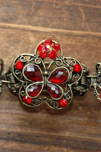 Red Ruby Stones and Rhinestone Butterfly Claw Clip