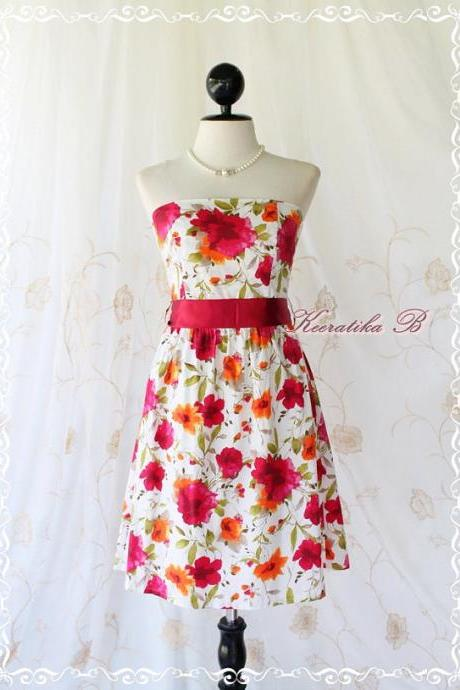 Floral Party - Sweet Glamorous Gorgeous Cotton Strapless Dress Floral Printed With Burgundy Sash Cocktail Prom Dinner Wedding Dress