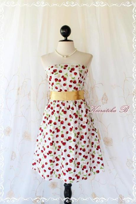 Floral Party - Sweet Glamorous Gorgeous Cotton Strapless Dress Strawberry Printed With Golden Sash Cocktail Prom Dinner Wedding Dress