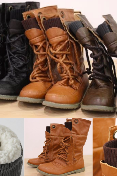 Big size 34-43 Women Half Knee High Boots Vintage Flats Heels Lace Up Warm Winter Fur Shoes Round Toe Platform Snow Boots 32360729166