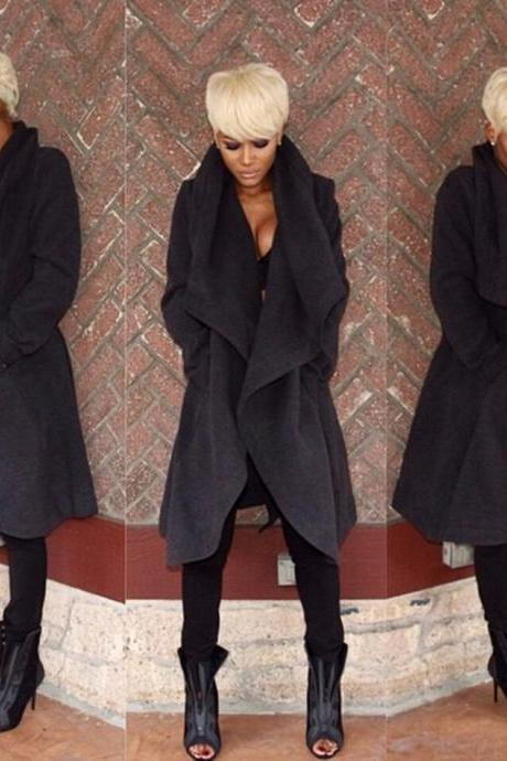 Fashion Turndown Collar Long Sleeves Black Long Wool Coat