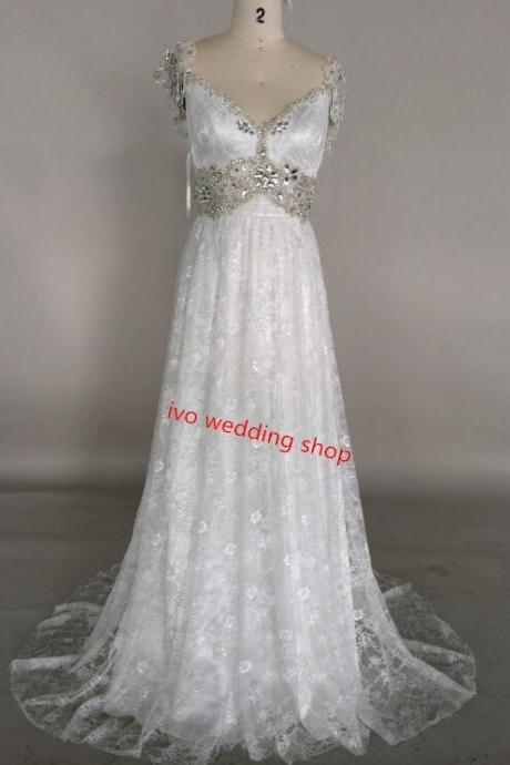 Charming V-Neckline Delicate Lace White Sweep Train Prom Dress With Beadings, High Quality Handmade Prom Gown With Bow And Beadings, Wedding