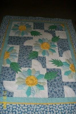 Blue and Yellow Flower Quilt