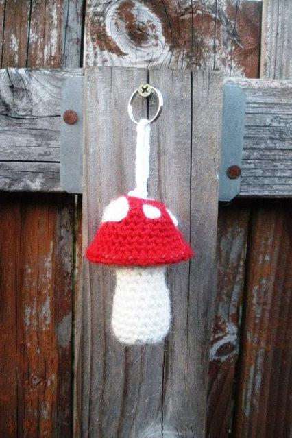Red Mushroom Toadstool Crochet Plush Keychain, ready to ship
