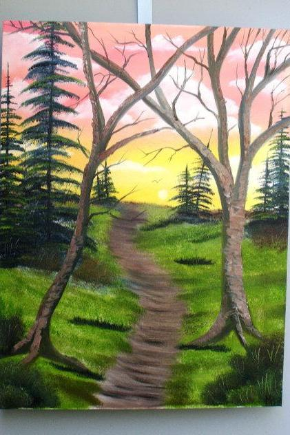 Nature scene painting original oil on canvas by Matt Borst, 'Golden Trail', ready to ship.