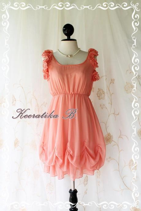 A Party Night - Prom Wedding Party Dinner Romance Dress Balloon Style Sweet Ruffle Sleeve Coral Peachy Toned