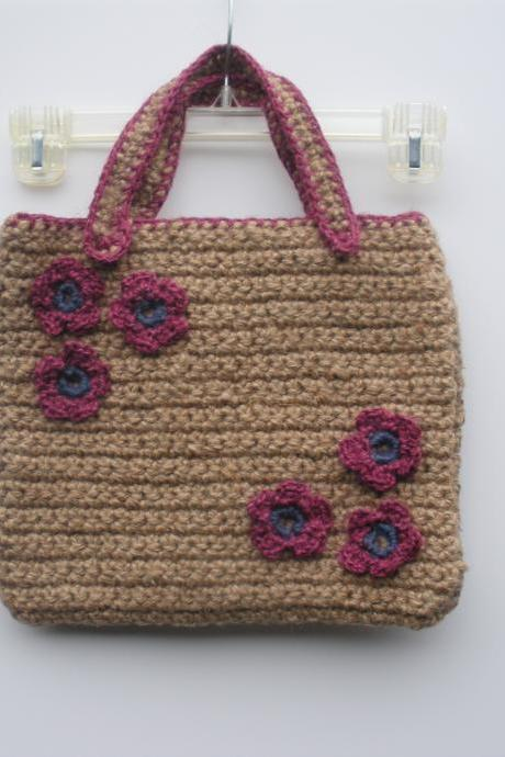 Crochet 100% Jute Purse with Floral Detail...