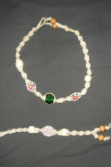 Hemp Bracelet and Necklace Set, macrame
