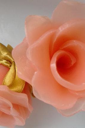 Peony Flower Soap, glycerin, salmon pink, Soap Art