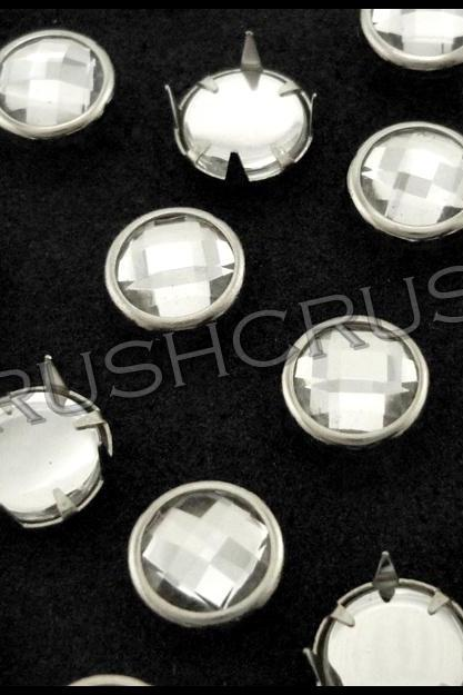 50pcs 8mm Round Acrylic Synthetic Crystal Prong Studs Nailheads Rhinestone S269