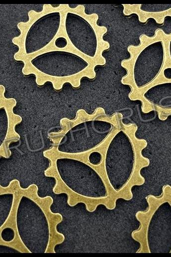 15pcs Antique Brass Steam Punk Gear Bead Charms Pendants PND-395