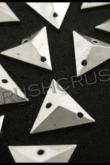 150pcs 12mm Silver Acrylic Faceted Triangle Beads Sewing on Studs Nailheads F621