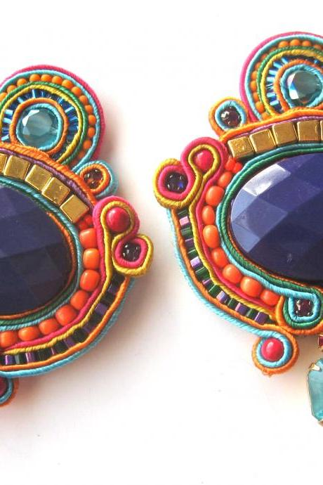 CAROUSEL soutache earrings in purple, orange, fuchsia and turquoise with Swarovski crystals rose montees and vintage charms
