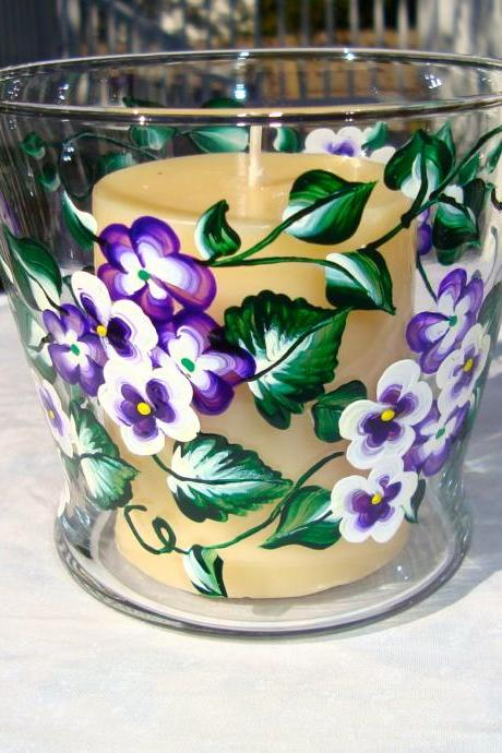 Painted Glass Candle Holder/ Candy Dish/ Potpourri Holder