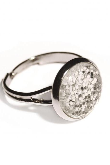 Sparkling silver ring - glass cabochon and glitters