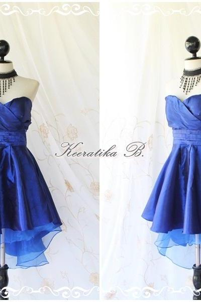 Cinderella Story Goddess Cocktail Dress Asymmetric Hem Taffeta Royal Blue Color Longer Blue Organza Lining S-M