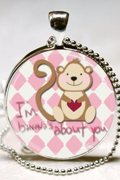 I am bananas about you cute monkey glass 1 inch necklace keychain with silver chain