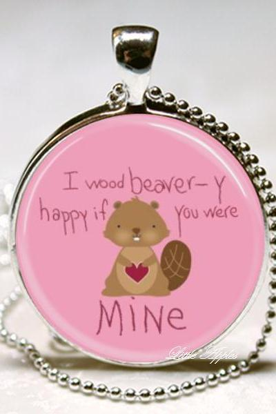 Brown squirrel I would be very happy if you were mine glass necklace keychain