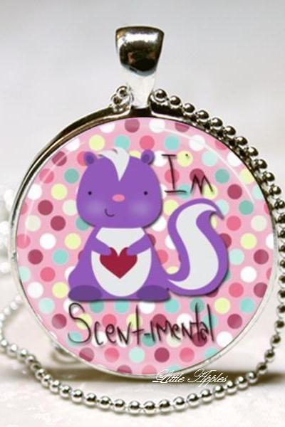 Cute sentimental purple raccoon glass round necklace or keychain