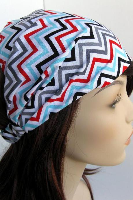 Chevron Zig Zag Headband Women's Head Wrap White Black Grey Gray Red Blue Bandana Hairband