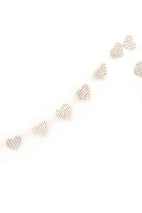 Laminated white garland with hearts made of book pages, water resistant