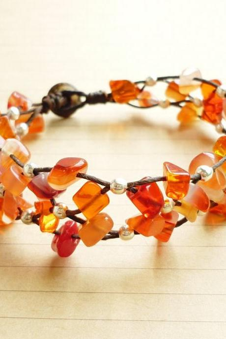 The Net of Carnelian - Orange Carnelian Stone and Silver Plated Bead with Black Wax Cord Bracelet - Customized Bracelet