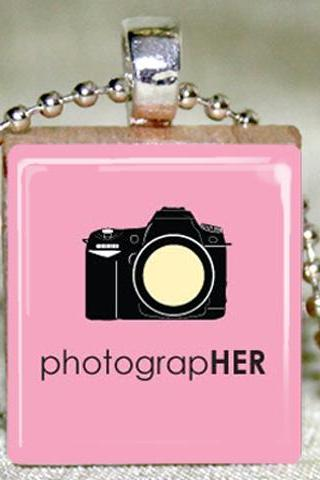 PhotograpHER Scrabble Pendant with Necklace and Matching Gift Tin
