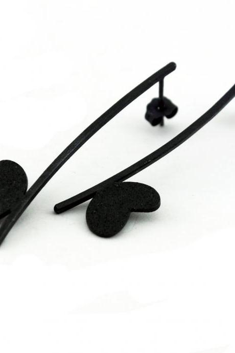 Oxidized - Texturized Sterling Silver Earrings. Roll Printed Texture. Black. Post. VARIACIONES 6 Earrings. Handmade by Maria Goti Joyas.