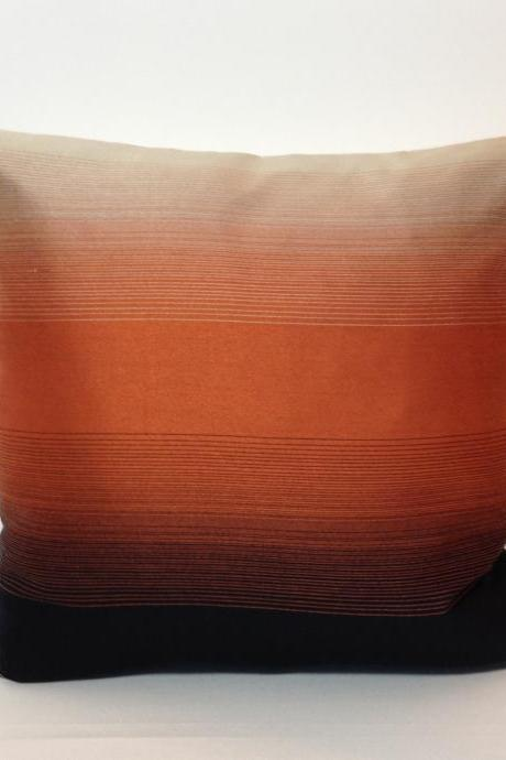 Cushion Over, Retro Black & Orange stripe, Vintage Fabric