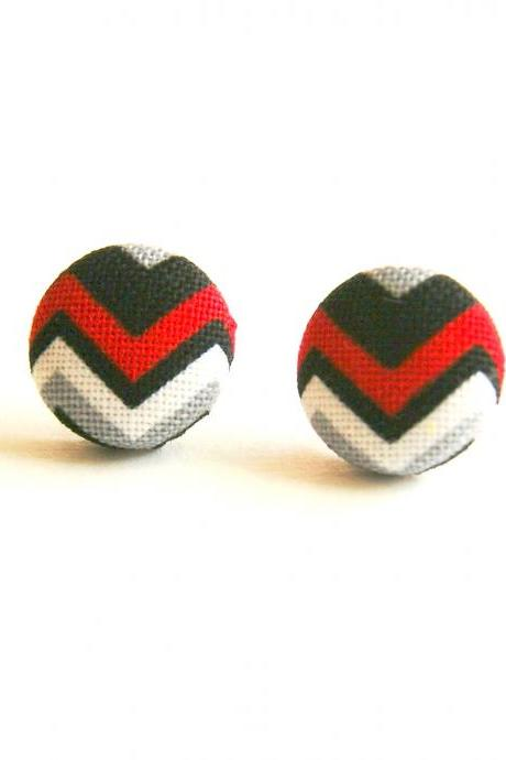 Chevron Fabric Covered Button Stud Earrings - Black and Red
