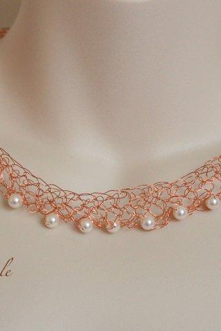 Pearl Necklace, Copper Wire necklace, Wire wrapped fine jewelry,