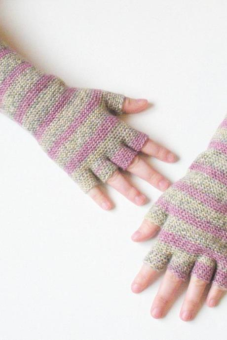 Extra long half finger gloves, crochet arm warmers in pink heather stripes, ready to ship.