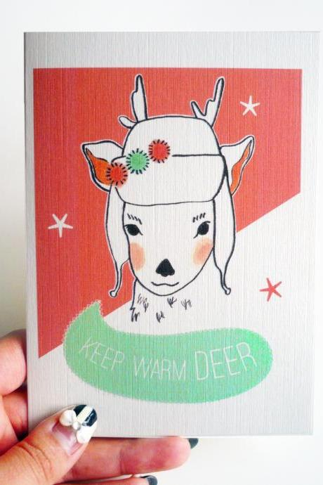 Keep warm 'Deer' Christmas Card