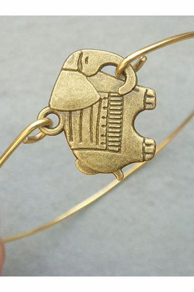 Elephant Brass Bangle Bracelet