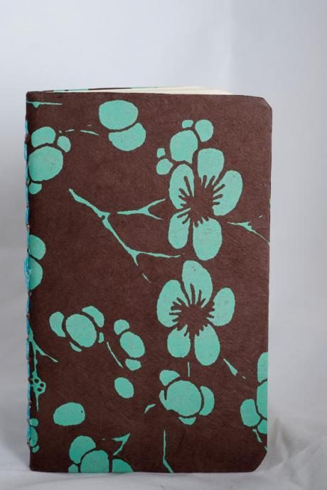 Blue cherry blossoms on brown paper Journal