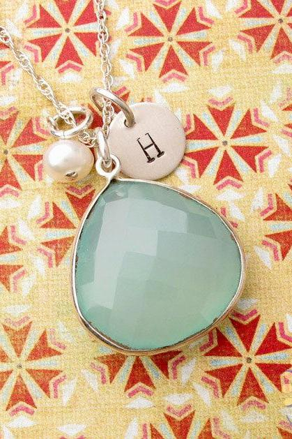 Aqua blue chalcedony necklace: sterling silver initial stamped bezel
