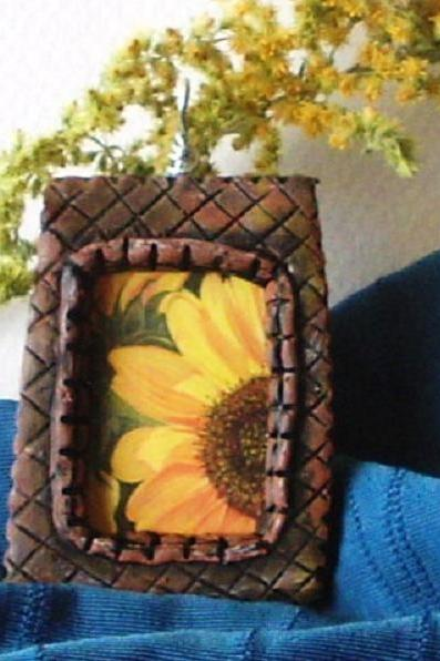 Polymer Clay Sunflower pendant number 1