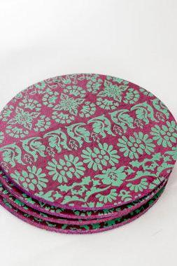handmade purple decorative coasters
