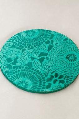 set of four turquiose coasters