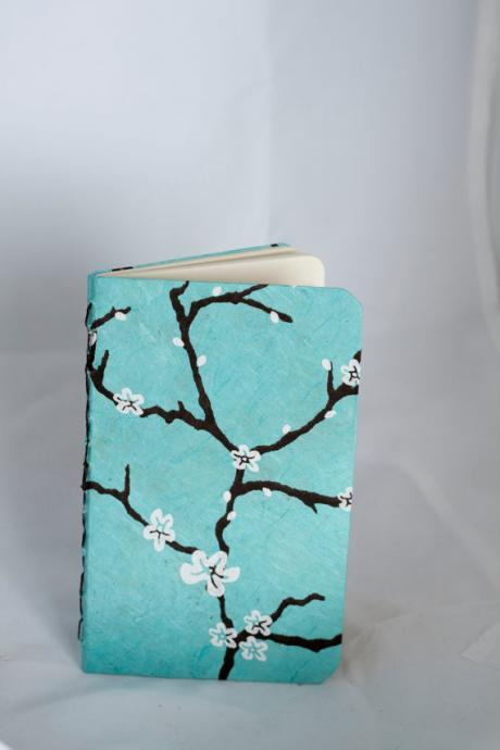 Blue Peach Blossom lined journal